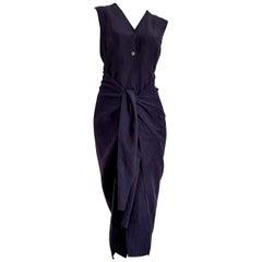 "JIL SANDER ""New"" Blue Silk Linen Dress with Front or Back Bow - Unworn"