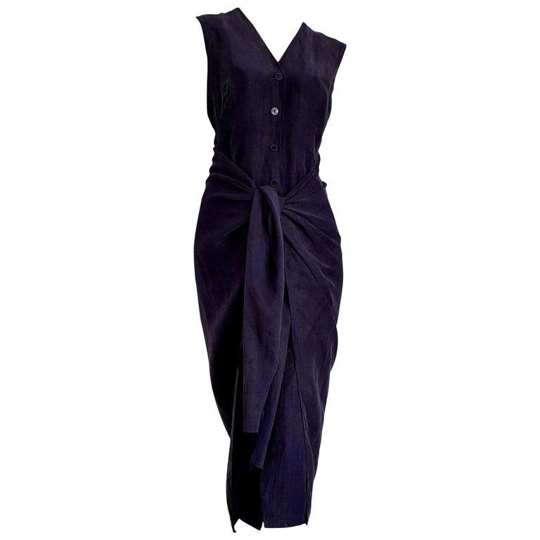 "JIL SANDER ""New"" Blue Silk Linen Dress with Front or Back Bow - Unworn  For Sale"