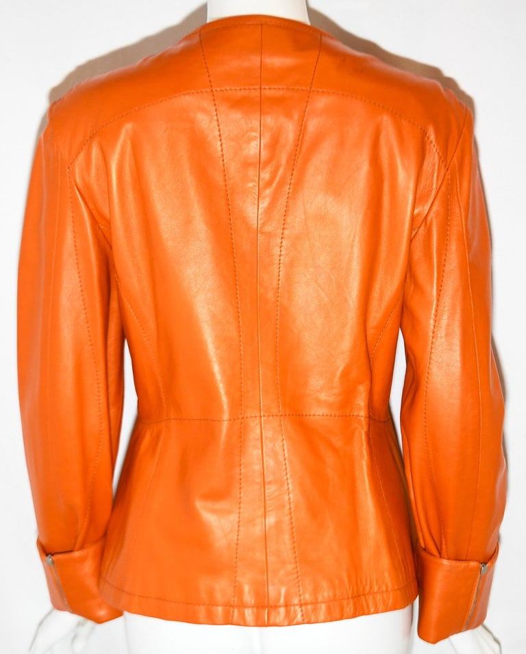 Jil Sander Orange Leather Top Stitched Zipper Jacket In Excellent Condition For Sale In Palm Beach, FL