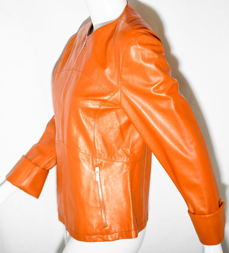 Women's Jil Sander Orange Leather Top Stitched Zipper Jacket For Sale