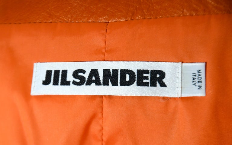 Jil Sander Orange Leather Top Stitched Zipper Jacket For Sale 1