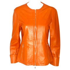 Jil Sander Orange Leather Top Stitched Zipper Jacket