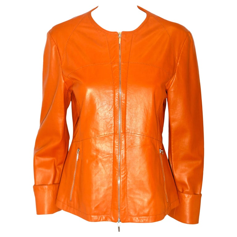 Jil Sander Orange Leather Top Stitched Zipper Jacket For Sale