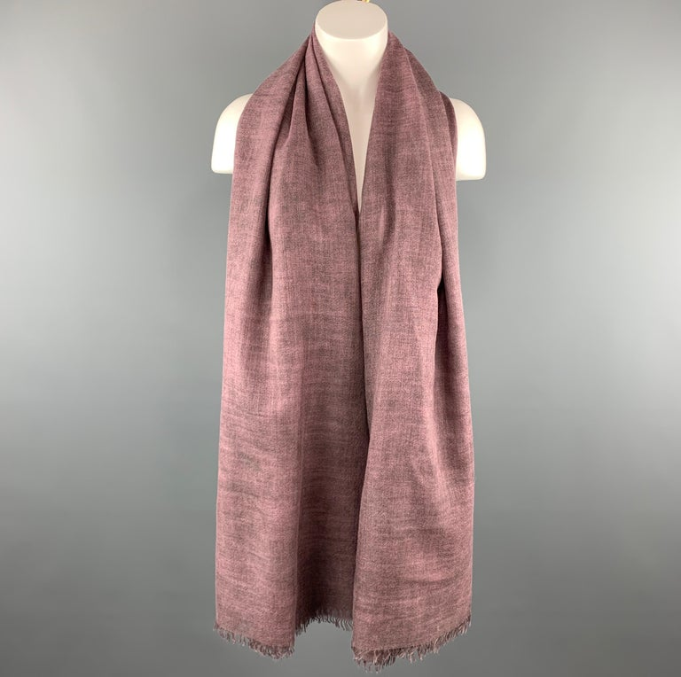JIL SANDER scarf comes in a purple cashmere / silk featuring a oversized style and fringe details. Made in Italy.   Excellent Pre-Owned Condition. Marked:   Measurements:   69 in. x 55 in.