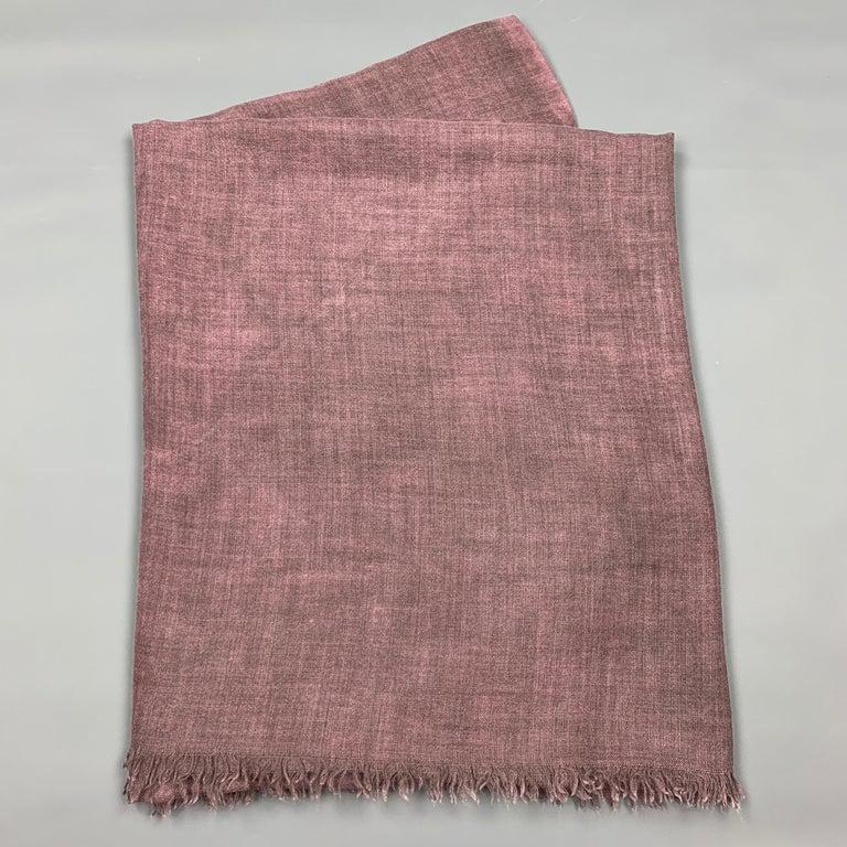 Brown JIL SANDER Oversized Purple Cashmere / Silk Fringe Scarf For Sale