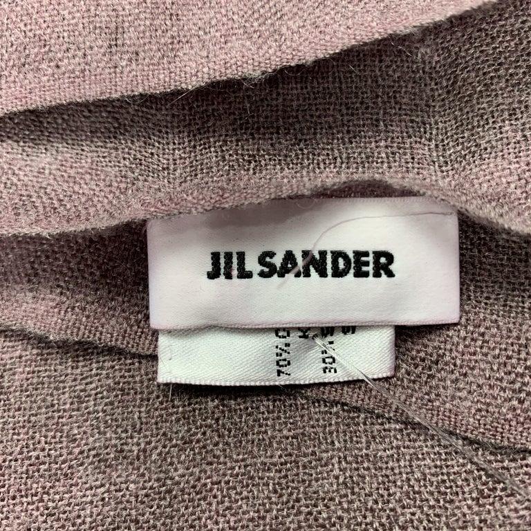 JIL SANDER Oversized Purple Cashmere / Silk Fringe Scarf For Sale 2