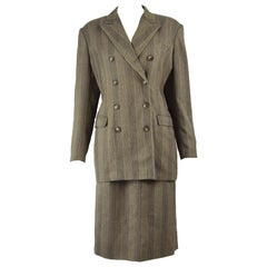 Jil Sander Pure Wool Double Breasted Tailored Women's Vintage Skirt Suit , 1990s