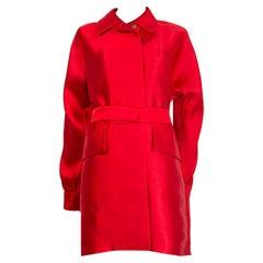 JIL SANDER red polyester SATIN TRENCH Coat Jacket 36 S