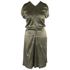 JIL SANDER Size 10 Olive Green Metallic Woven Silk Draped Sleeveless Dress
