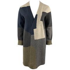 JIL SANDER Size 12 Grey Navy & Olive Green Color Block Cashmere Coat