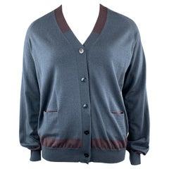 JIL SANDER Size 12 Navy & Plum Color Block Cashmere Blend Cardigan