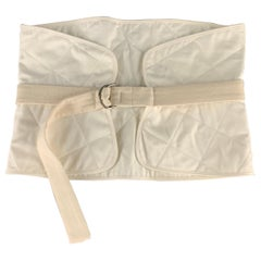 JIL SANDER Size 2 Cream Quilted Cotton D Loop Belt