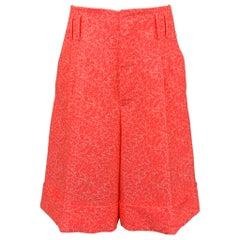 JIL SANDER Size 32 Pink & White Jacquard Cotton Blend Pleated Shorts