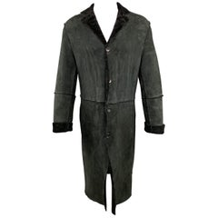 JIL SANDER Size 38 Textured Black Notch Lapel Leather Long Coat