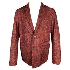 JIL SANDER Size 40 Brick & Black Tweed Wool Blend Notch Lapel Sport Coat