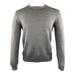 JIL SANDER Size 40 Dark Gray Knitted Wool Crew-Neck Sweater