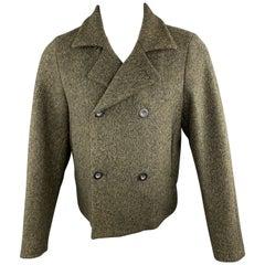 JIL SANDER Size 40 Olive Heather Woven Virgin Wool Notch Lapel Cropped Coat