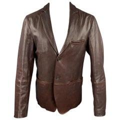 JIL SANDER Size 42 Brown Leather Notch Lapel Jacket