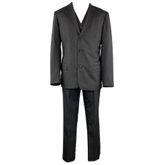 JIL SANDER Size 42 Long Black Stripe Wool Notch Lapel 3 Piece Suit