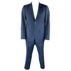 JIL SANDER Size 42 Navy Wool / Mohair Notch Lapel Suit
