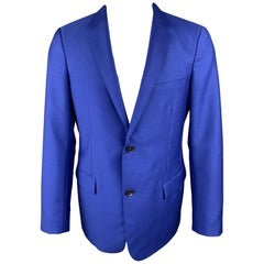 JIL SANDER Size 42 Royal Blue Wool / Mohair Notch Lapel Sport Coat