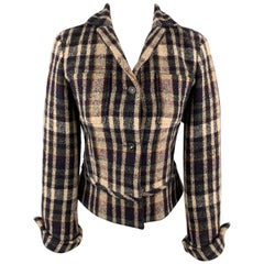 JIL SANDER Size 6 Beige & Navy Plaid Cropped Jacket