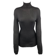 JIL SANDER Size 6 Black Cashmere / Silk Ribbed Turtleneck Sweater