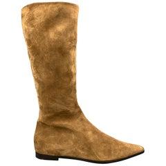JIL SANDER Size 7.5 Caramel Tan Suede Pointed Flat Calf Boots