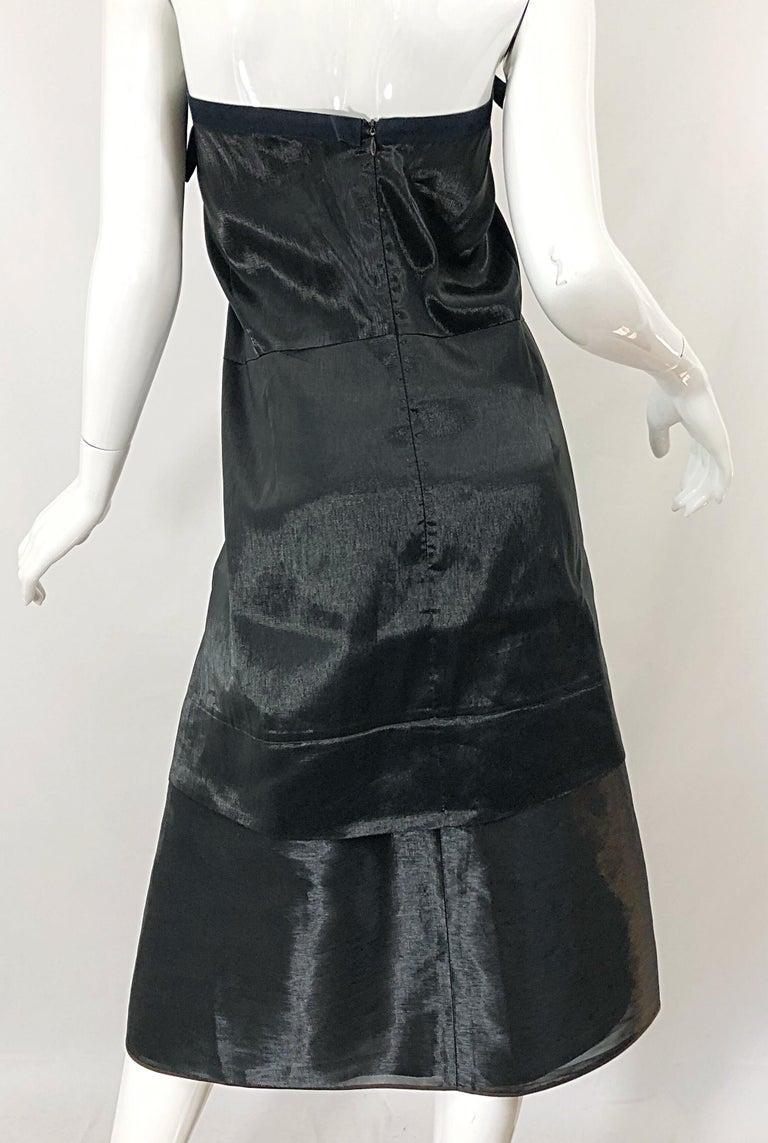 Jil Sander Size 8 Vintage Black Metallic Avant Garde Strapless 1990s Dress 90s For Sale 6
