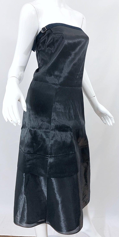Jil Sander Size 8 Vintage Black Metallic Avant Garde Strapless 1990s Dress 90s For Sale 7