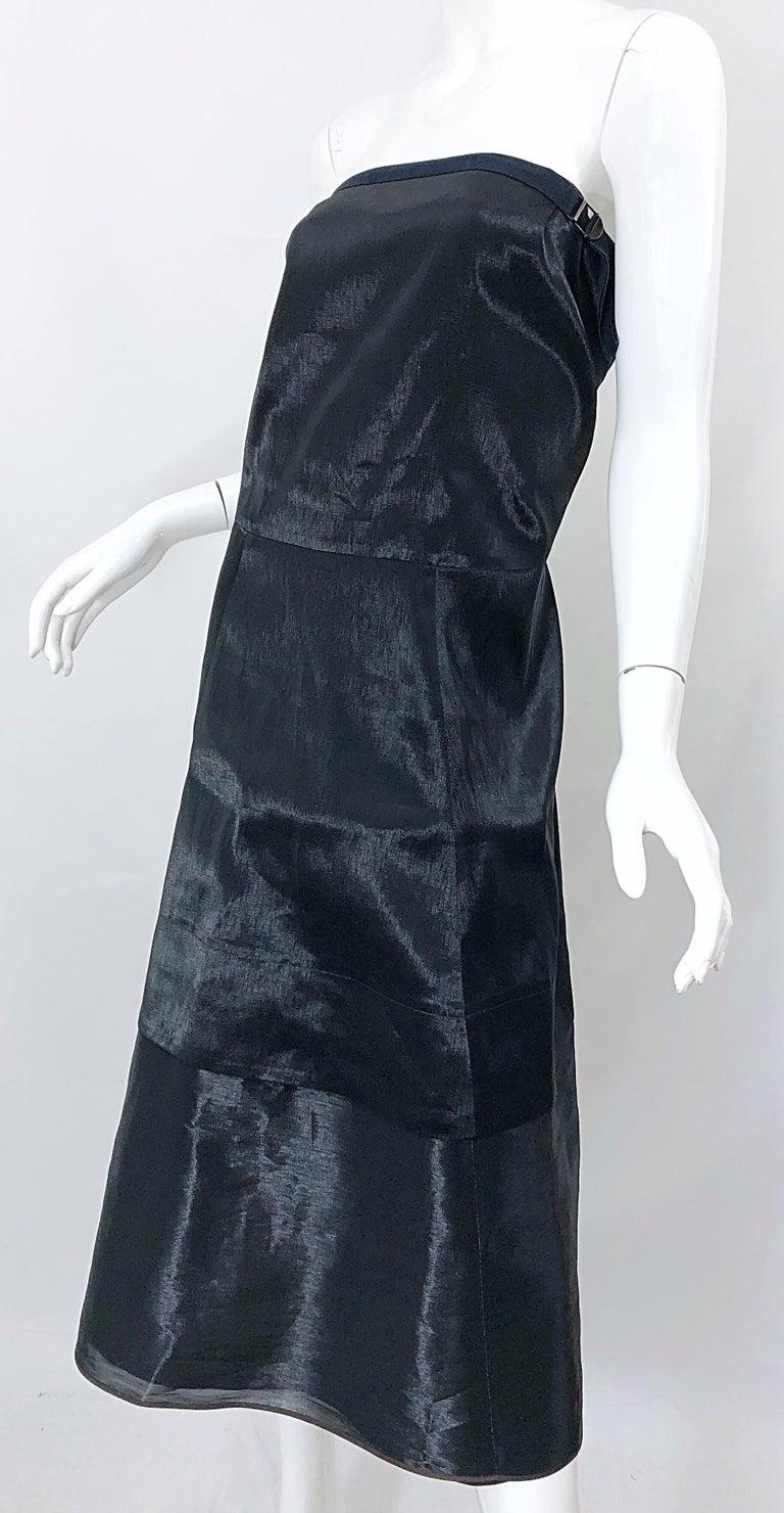 Jil Sander Size 8 Vintage Black Metallic Avant Garde Strapless 1990s Dress 90s For Sale 8