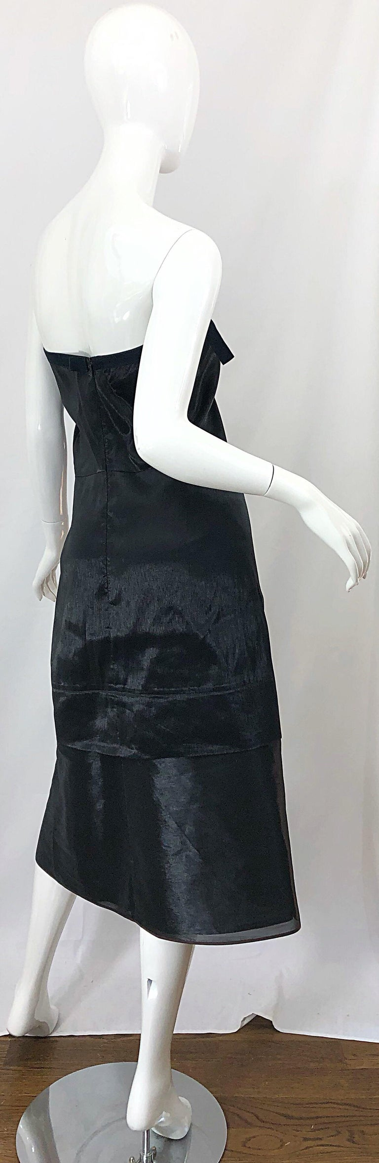 Jil Sander Size 8 Vintage Black Metallic Avant Garde Strapless 1990s Dress 90s For Sale 9