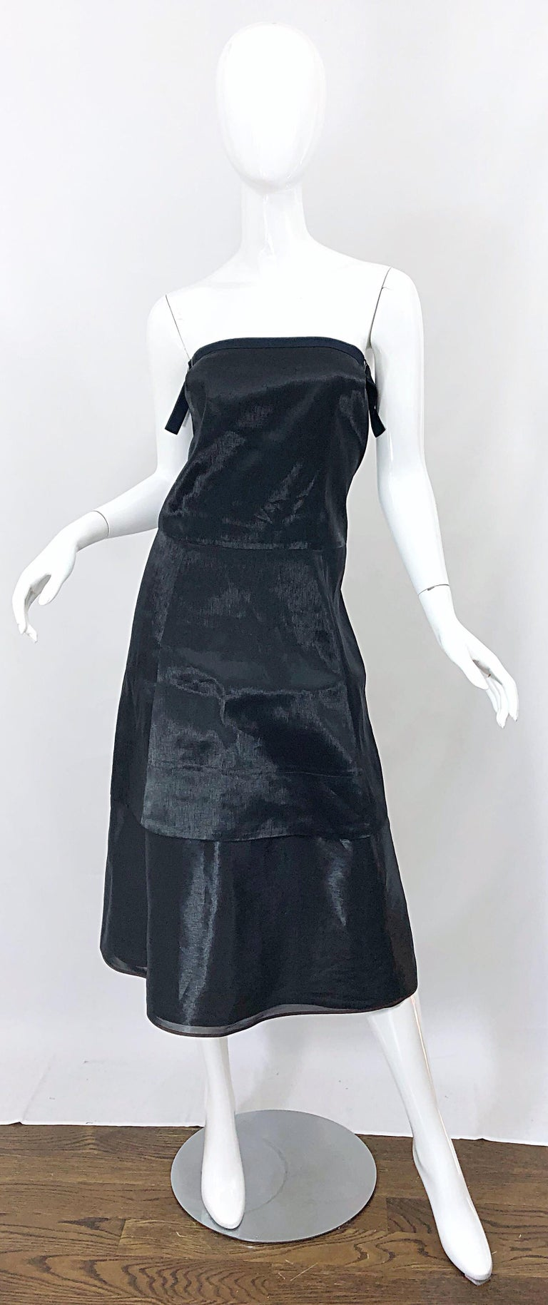 Jil Sander Size 8 Vintage Black Metallic Avant Garde Strapless 1990s Dress 90s For Sale 10