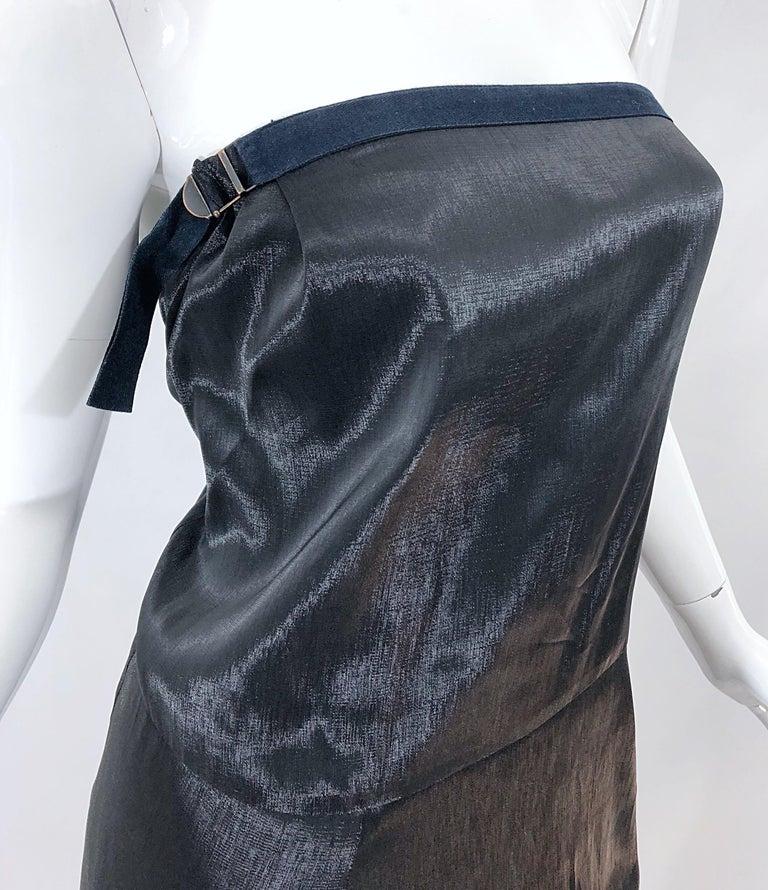 Jil Sander Size 8 Vintage Black Metallic Avant Garde Strapless 1990s Dress 90s In Excellent Condition For Sale In Chicago, IL