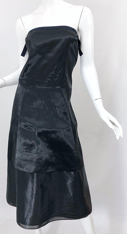 Jil Sander Size 8 Vintage Black Metallic Avant Garde Strapless 1990s Dress 90s For Sale 1