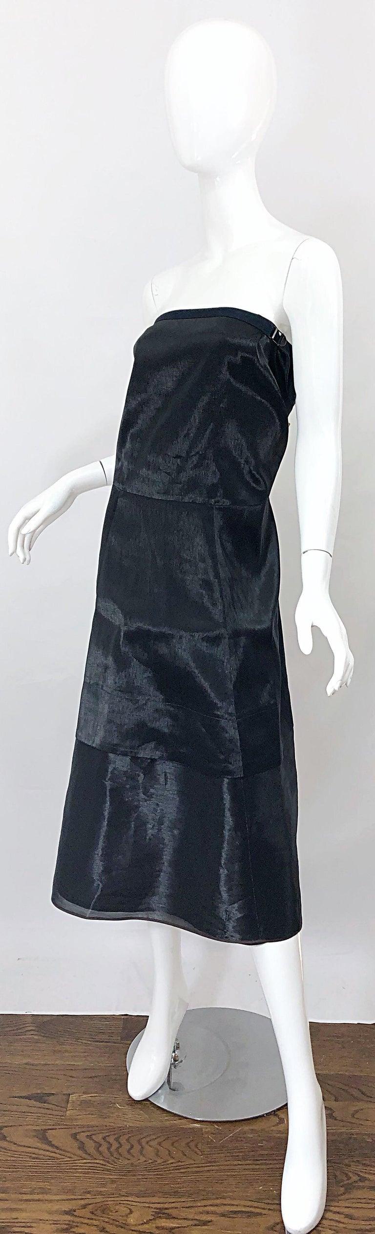 Jil Sander Size 8 Vintage Black Metallic Avant Garde Strapless 1990s Dress 90s For Sale 4