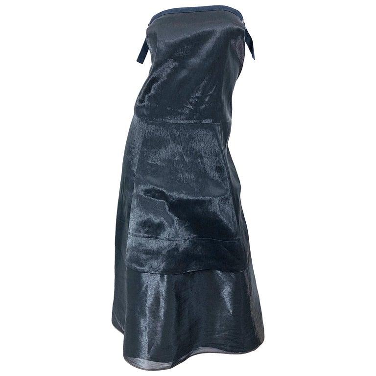 Jil Sander Size 8 Vintage Black Metallic Avant Garde Strapless 1990s Dress 90s For Sale