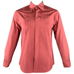 JIL SANDER Size L Blush Pleated Silk French Cuff Long Sleeve Shirt