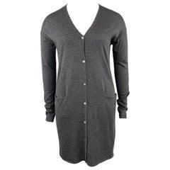 JIL SANDER Size L Charcoal Wool Long Duster Cardigan