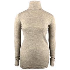 JIL SANDER Size L Oatmeal Beige Wool / Angora Pullover Turtleneck Sweater