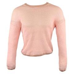 JIL SANDER Size M Pink Mesh Paper Crew-Neck Pullover