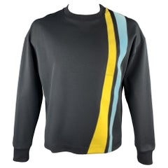 JIL SANDER Size XL Black Yellow And Blue Stripe Crew-Neck Pullover