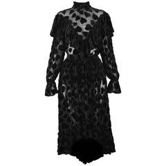 Jil Sander Vintage 1990s Semi Sheer Black Velvet Devore Two Piece Skirt Suit