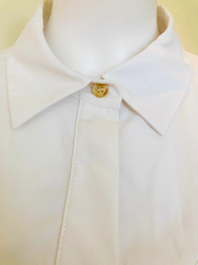 Jil Sander White Cotton Long Sleeve Button Down Handkerchief Causal Dress For Sale 5