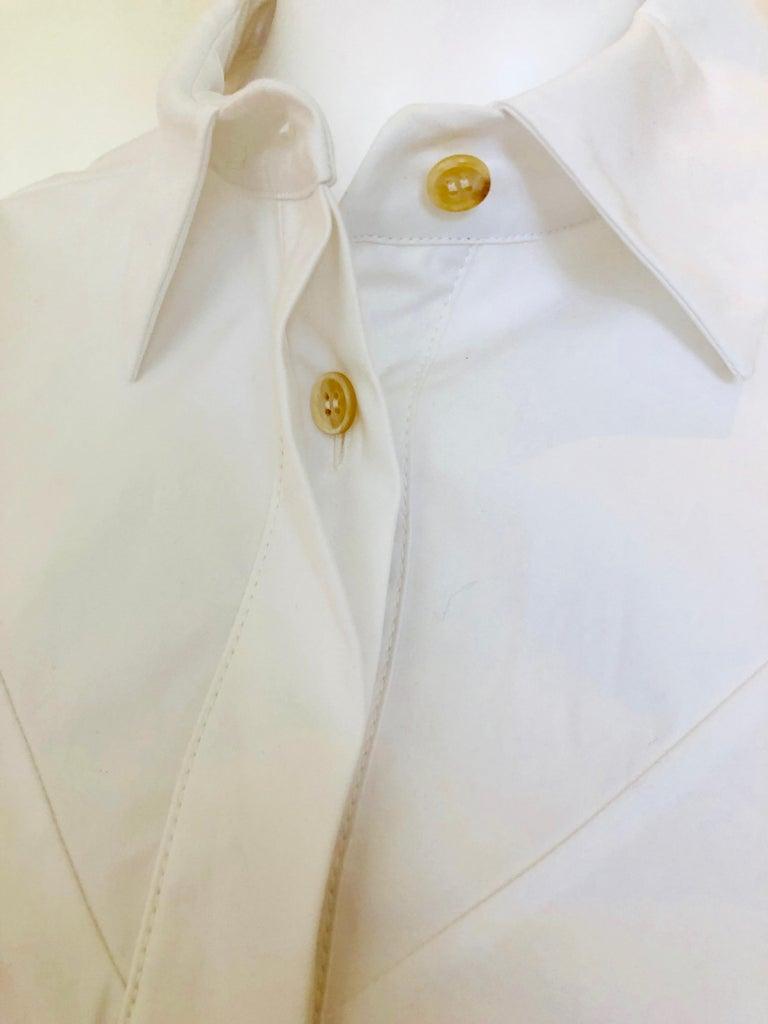Jil Sander White Cotton Long Sleeve Button Down Handkerchief Causal Dress For Sale 6
