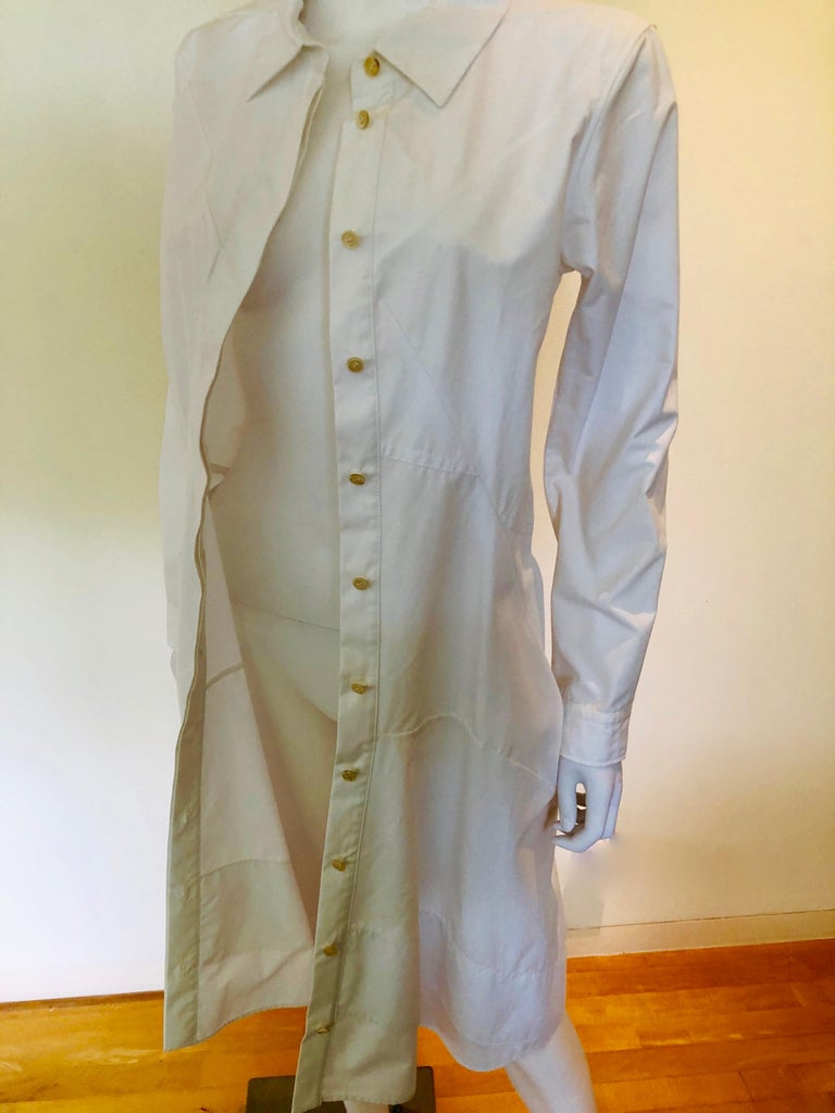 Jil Sander White Cotton Long Sleeve Button Down Handkerchief Causal Dress For Sale 7