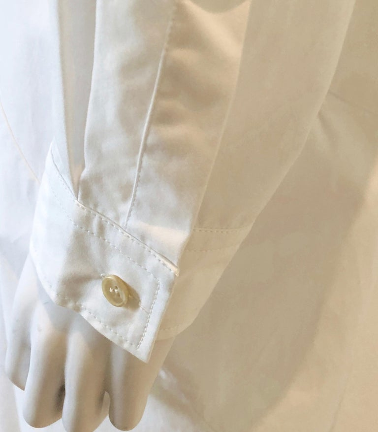 Jil Sander White Cotton Long Sleeve Button Down Handkerchief Causal Dress For Sale 9