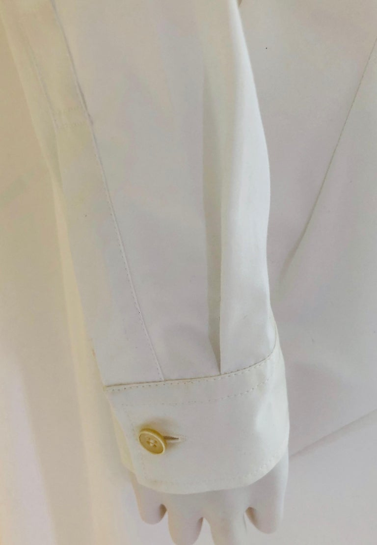 Jil Sander White Cotton Long Sleeve Button Down Handkerchief Causal Dress For Sale 11