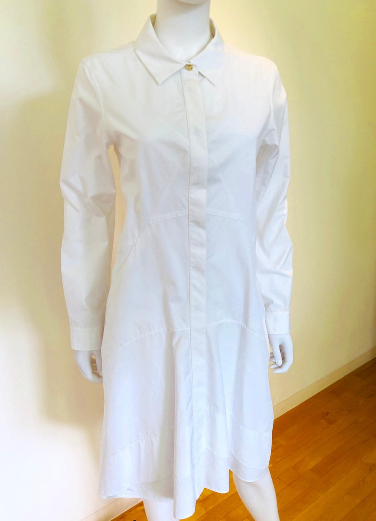 Blue Jil Sander White Cotton Long Sleeve Button Down Handkerchief Causal Dress For Sale
