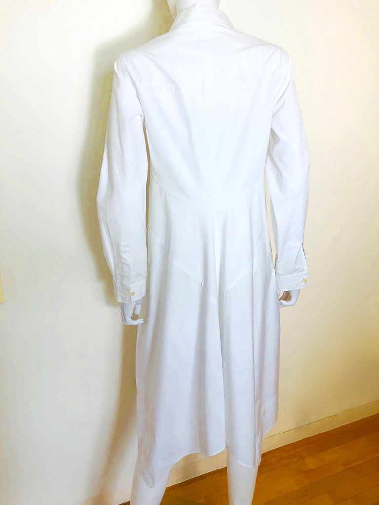 Jil Sander White Cotton Long Sleeve Button Down Handkerchief Causal Dress For Sale 2